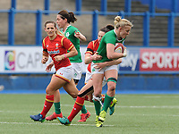 Ireland's Claire Molloy is tackled by Wales' Robyn Wilkins<br /> <br /> Photographer Ian Cook/CameraSport<br /> <br /> Women's Six Nations Round 4 - Wales Women v Ireland Women - Saturday 11th March 2017 - Cardiff Arms Park - Cardiff<br /> <br /> World Copyright &copy; 2017 CameraSport. All rights reserved. 43 Linden Ave. Countesthorpe. Leicester. England. LE8 5PG - Tel: +44 (0) 116 277 4147 - admin@camerasport.com - www.camerasport.com