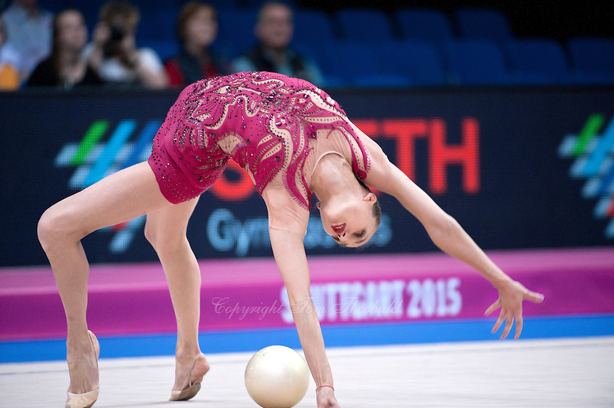 September 8, 2015 - Stuttgart, Germany - ANNA RIZATDINOVA of Ukraine performs during AA qualifications at 2015 World Championships.