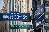 "New York commemorates the late boxing legend Muhammad Ali by temporarily renaming West 33rd Street next to Madison Square Garden as ""Muhammad Ali Way"", seen on Tuesday, June 7, 2016. Ali fought Joe Frazier in the famous arena in 1971 in what was billed as the ""Fight of the Century"". Ali passed away June 3 at the age of 74. (© Richard B. Levine)"