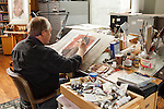 1202-27 081.CR2<br /> <br /> Robert T. Barrett, artist in his home studio, Painting<br /> <br /> February 21, 2012<br /> <br /> Photography by Mark A. Philbrick<br /> <br /> Copyright BYU Photo 2012<br /> All Rights Reserved<br /> photo@byu.edu  (801)422-7322