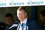 St Johnstone v Celtic....15.09.12      SPL  .St Johnstone manager Steve Lomas peers out from the dugout.Picture by Graeme Hart..Copyright Perthshire Picture Agency.Tel: 01738 623350  Mobile: 07990 594431