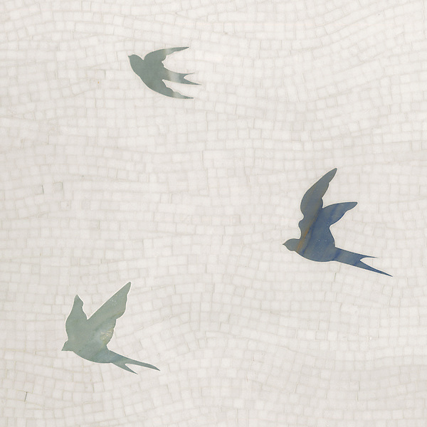 Flight, a hand-cut and waterjet stone mosaic, shown in Thassos, Blue Macauba, Kay's Green (p)