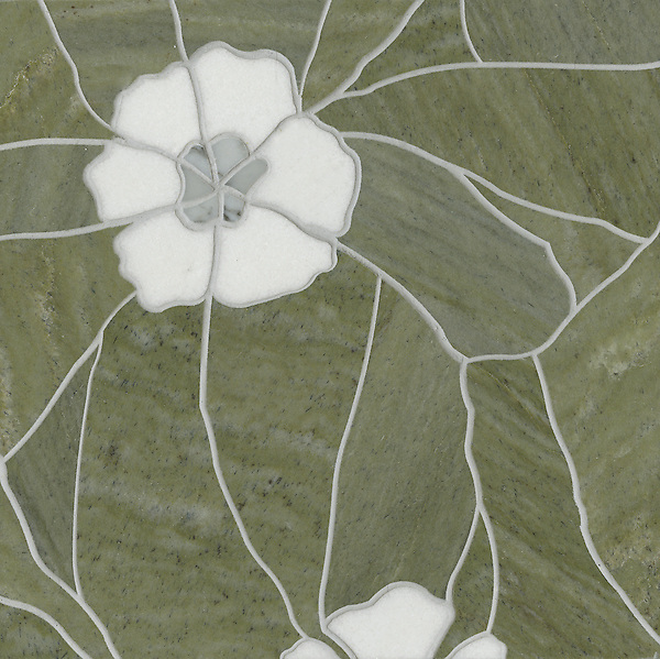 Raku Flower Small, a stone water jet mosaic, shown in Carrara, Thassos, and Verde Luna, is part of the Ann Sacks Beau Monde collection sold exclusively at www.annsacks.com