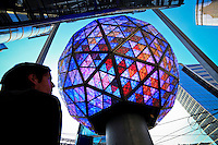 A man looks at the testing of the New Year's Eve Ball for celebrations on New Year Eve 2012 in New York City. 12/30/11.  Photo by Eduardo Munoz Alvarez / VIEWpress.