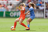 Houston, TX - Saturday April 15, 2017: Kealia Ohai and Alyssa Mautz battle for control of the ball during a regular season National Women's Soccer League (NWSL) match won by the Houston Dash 2-0 over the Chicago Red Stars at BBVA Compass Stadium.