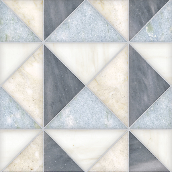 Christopher 3, a hand-cut stone mosaic shown in honed Allure, Celeste, Dolomite, and Cloud Nine, is part of the Illusions™ Collection by Sara Baldwin.