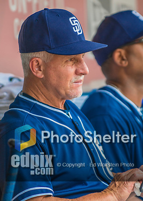 24 July 2016: San Diego Padres Coach Eddie Rodriguez sits in the dugout prior to a game against the Washington Nationals at Nationals Park in Washington, DC. The Padres defeated the Nationals 10-6 to take the rubber match of their 3-game, weekend series. Mandatory Credit: Ed Wolfstein Photo *** RAW (NEF) Image File Available ***