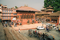 The low building on the northern side of Durbar Squarein Kathmandu is the Shiva-Parvati temple, which was built in the late 18th century. The entire square was designated a UNESCO World Heritage site in 1979.