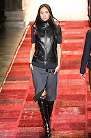 Shu Pei Qin walks runway in an outfit from the Tommy Hilfiger Fall 2011 Bohemian Prep collection, during Mercedes-Benz Fashion Week Fall 2011.