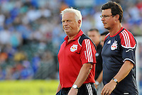 Hans Backe (red), Goran Aral...Kansas City Wizards were defeated 3-0 by New York Red Bulls at Community America Ballpark, Kansas City, Kansas.