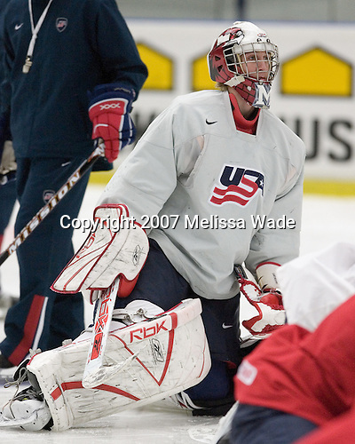Jeff Zatkoff (Chesterfield, MI - Miami University)  participates in Team USA's morning skate on Tuesday, January 2, 2007, at Ejendals Arena in Leksand, Sweden during the 2007 World Junior Championship.  Team USA would go on to win the Bronze on January 5, 2007.<br />