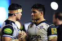 Francois Louw and Amanaki Mafi of Bath Rugby after the match. Aviva Premiership match, between Harlequins and Bath Rugby on March 11, 2016 at the Twickenham Stoop in London, England. Photo by: Patrick Khachfe / Onside Images