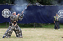 November 3, 2011, Tokyo, Japan - A musketeer reloads his match lock musket after firing at a Martial Arts demonstration held at Meiji shrine to celebrate Japan's National Culture Day. (Photo by Bruce Meyer-Kenny/AFLO) [3692]