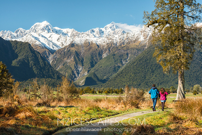 Hikers on track around Lake Matheson with farmland near Fox Glacier village and mountains Southern Alps in background, Westland Tai Poutini National Park, UNESCO World Heritage Area, West Coast, New Zealand, NZ