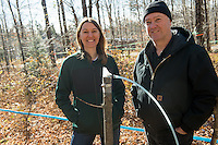 20131104 Tim Perkins and Abby van den Berg at Proctor Maple Research Center with maple sapling