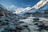 Hooker Lake, River, Aoraki / Mount Cook, South Island, New Zealand.