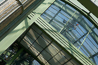Tropical Rainforest Glasshouse (formerly Le Jardin d'Hiver or Winter Gardens), 1936, René Berger, Jardin des Plantes, Museum National d'Histoire Naturelle, Paris, France. View from below of a worker, lit by the afternoon sun, hanging from the metal structure of the roof of the Art Deco style glasshouse whilst installing an atomiser to ensure that the atmosphere has the correct humidity for the luxuriant tropical foliage.