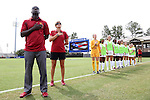 06 September 2015: USC head coach Keidane McAlpine (left) with his team during the national anthem. The University of North Carolina Tar Heels played the University of Southern California Trojans at Koskinen Stadium in Durham, NC in a 2015 NCAA Division I Women's Soccer match. UNC won the game 2-1.