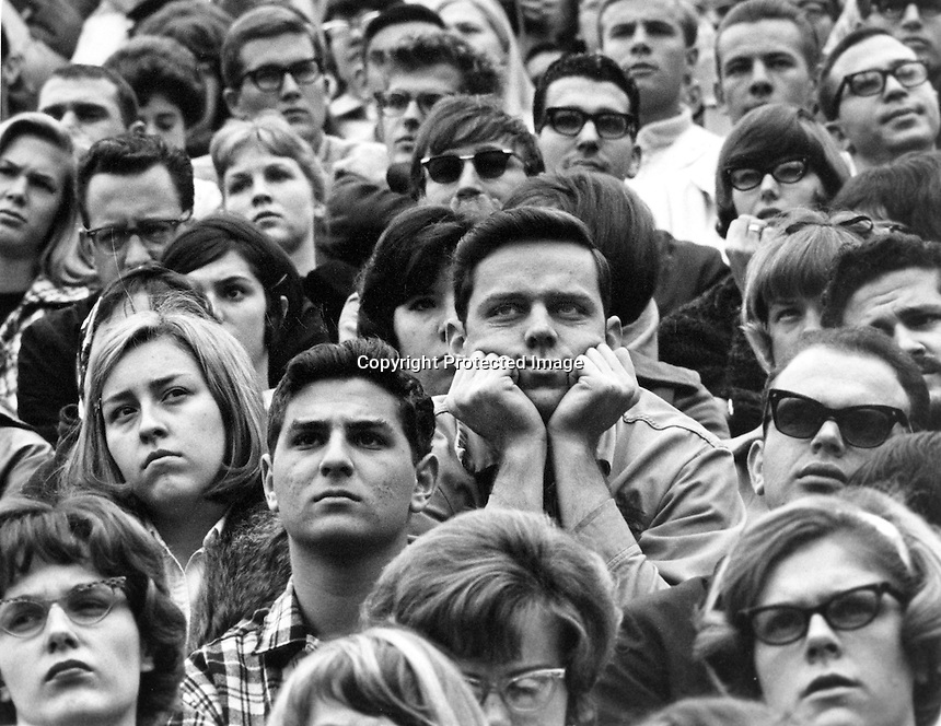 "University of California students listen with great intensity speech by U.C.President Clark Kerr at the height of the ""free speech"" revolt on the campus..(1965 photo by Ron Riesterer)"