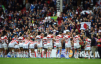 The Japan team acknowledges the crowd after the match. Rugby World Cup Pool B match between Scotland and Japan on September 23, 2015 at Kingsholm Stadium in Gloucester, England. Photo by: Patrick Khachfe / Onside Images