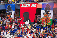 New York Red Bulls fans hang banners prior to the start of the match. The New York Red Bulls  defeated the Portland Timbers 3-2 during a Major League Soccer (MLS) match at Red Bull Arena in Harrison, NJ, on August 19, 2012.