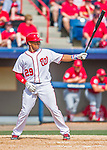 13 March 2016: Washington Nationals catcher Pedro Severino in action during a pre-season Spring Training game against the St. Louis Cardinals at Space Coast Stadium in Viera, Florida. The teams played to a 4-4 draw in Grapefruit League play. Mandatory Credit: Ed Wolfstein Photo *** RAW (NEF) Image File Available ***