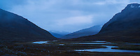 Rainy evening view south from near Singi hut along Kungsleden trail, Lappland, Sweden
