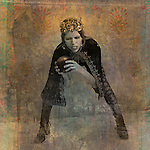 The Queen bent and holding the symbolic sphere of her realm. Photo based illustration.