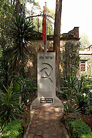The tomb of Leon Trotsky and Natalia Sedova in the garden of the Museo Casa de Leon Trotsky or Leon Trotsky House Museum in Coyoacan, Mexico City