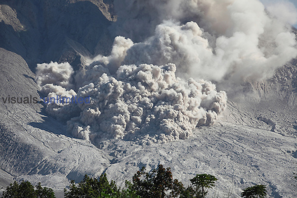 Small pyroclastic flow on flank of Sinabung Volcano, Indonesia