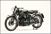 BNPS.co.uk (01202 558833).Pic: JamesWright/Bonhams/BNPS..***Please Use Full Byline***..An historic bike from a bygone age when Britain ruled the motorcycle world has sold for an astonishing £113,500...The beautiful and unique Vincent Black Shadow motorbike was used in world record speed trials in the 1950's at which world records were set by the tiny British company...The trials in Montlhery, France, in 1952 set a 6 hour speed record  at over 100 mph - an astonishing achievement for the time...The tiny British company was so far ahead of its time that in wasn't until the 1970's that Japanese manufacturers came along with faster production machines...The beautifully restored bike was sold by George Petch from Grimsby who had owned the historic bike for over 40 years...Bonhams sold the bike at their West Stafford sale....