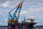 Saipem 7000, the giant floating crane, the second biggest of its kind, capable of lifting 14,200 tonnes with its 140m crane booms, at anchor, near Stavanger, Norway.