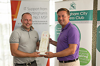 Nearest the 14th pin sponsor Air IT's Simon Leadley with winner Nigel Johnson