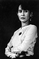 © Nic Dunlop / Panos Pictures..Rangoon, BURMA..Daw Aung San Suu Kyi, Nobel Peace Prize Laureate and General Secretary of the National League for Democracy, at her home.