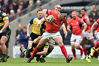 Jamie George of Saracens takes on the Northampton Saints defence. Aviva Premiership match, between Northampton Saints and Saracens on April 16, 2017 at Stadium mk in Milton Keynes, England. Photo by: Patrick Khachfe / JMP