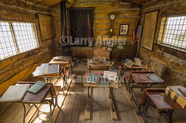Sherman School Dist. 31 log-cabin one-room school on the grounds of the Northeastern Nevada Museum, Elko, Nev.