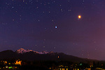 Saturn and Mars hanging out above the Olympic Mountains. Agnew, WA. On April 14, 2014 — the same night of a total lunar eclipse — Mars will make its closest approach to Earth since January 2008, coming within 57.4 million miles of Earth