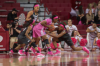 NWA Democrat-Gazette/J.T. WAMPLER Arkansas' Malica Monk (from left) Alecia Cooley and Jessica Jackson harass Kentucky's Evelyn Akahator Thursday Feb. 16, 2017 at Bud Walton Arena in Fayetteville. The Wildcats won 69-62.