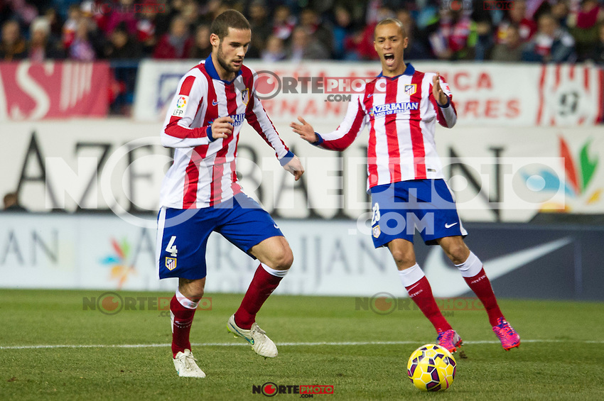 Atletico de Madrid&acute;s Mario Suarez and Joao Miranda during 2014-15 La Liga match between Atletico de Madrid and Rayo Vallecano at Vicente Calderon stadium in Madrid, Spain. January 24, 2015. (ALTERPHOTOS/Luis Fernandez) /NortePhoto<br />