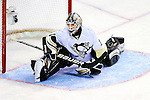 6 February 2010: Pittsburgh Penguins' goaltender Brent Johnson stretches in his crease prior to facing the Montreal Canadiens at the Bell Centre in Montreal, Quebec, Canada. The Canadiens defeated the Penguins 5-3. Mandatory Credit: Ed Wolfstein Photo