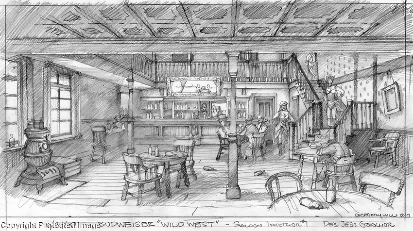 Preliminary sketch for the interior of the saloon.