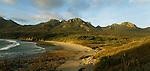 Waituna Beach and Ruggedy Mountains. Stewart Island (Rakiura) National Park. New Zealand