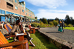 Adirondack Chairs in front of Skamania Lodge located in Washington's Columbia River Gorge offer a great place to sit and watch the Columbia River