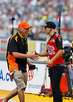 Sep 25, 2016; Madison, IL, USA; NHRA top fuel driver Leah Pritchett during the Midwest Nationals at Gateway Motorsports Park. Mandatory Credit: Mark J. Rebilas-USA TODAY Sports