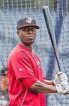 21 May 2014: Cincinnati Reds outfielder Roger Bernadina awaits his turn in the batting cage prior to a game against the Washington Nationals at Nationals Park in Washington, DC. The Reds edged out the Nationals 2-1 to take the rubber match of their 3-game series. Mandatory Credit: Ed Wolfstein Photo *** RAW (NEF) Image File Available ***