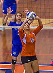 2 November 2014: Purchase College Panther Victoria Blum, a Sophomore from the Bronx, NY, in action against the Yeshiva University Maccabees at SUNY Purchase College, in Purchase, NY. The Maccabees defeated the Panthers 3-1 in the NCAA Division III Women's Volleyball Skyline matchup. Mandatory Credit: Ed Wolfstein Photo *** RAW (NEF) Image File Available ***