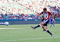 CD Chivas USA forward Alan Gordon lets one loose on goal. The Kansas City Wizards defeated CD Chivas USA 2-0 at Home Depot Center stadium in Carson, California on Sunday September 19, 2010.