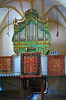 Organ of the medieval fortified church of Harman. A Romaneque church started in 1240 by the Cistercian monks with elements of Gothic architecture .Harman, Braşov, Transylvania. UNESCO World Heritage Site.