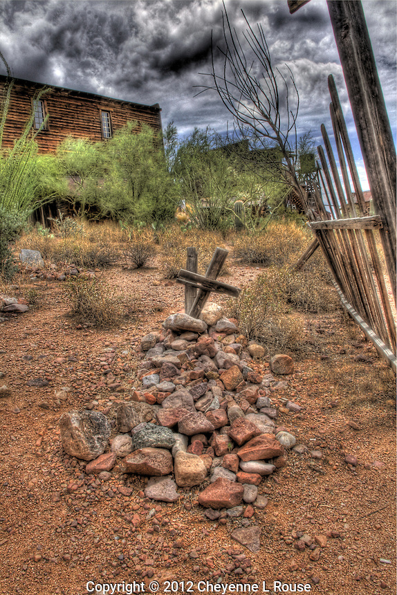 Old West grave site with 2 crosses in Goldfield Mine and Ghost Town cemetery - Arizona. &copy; 2012 Cheyenne L Rouse/All rights reserved