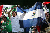 Nicaragua fans show their support among a predominately Mexico crowd. Mexico defeated Nicaragua 2-0 during the First Round of the 2009 CONCACAF Gold Cup at the Oakland, Coliseum in Oakland, California on July 5, 2009.